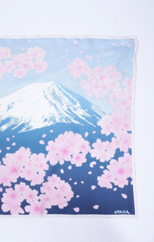 Square Scarf Fuji And Cherry Blossom Bandanas Unisex Bandanas Tie For Woman