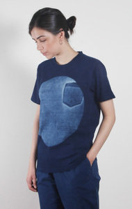Big Circle Slub Cotton T-Shirt Indigo