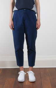 Cotton Poplin Wide Baker Pant Indigo