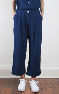 Indigo Rayon/Linen Relax Wide Pant