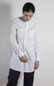 Banded Collar Long Shirt White CL Sheeting