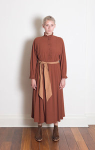Belted Long Dress Cinnamon
