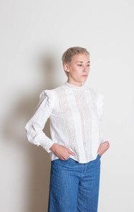 Cotton LG Sleeve Top White Frill