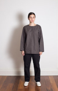 Pullover Shirt Poplin Charcoal Grey