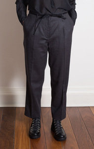 Charcoal Belted Woven Trousers