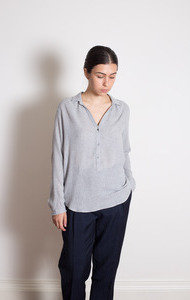 Lt Grey Viscose and Woven Blouse