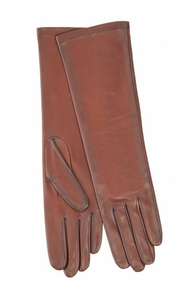 Long Leather Glove Whisky/Noir