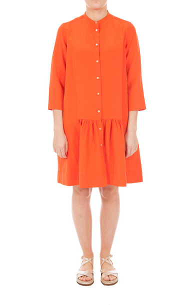 Mandarin Shirt Dress Orange