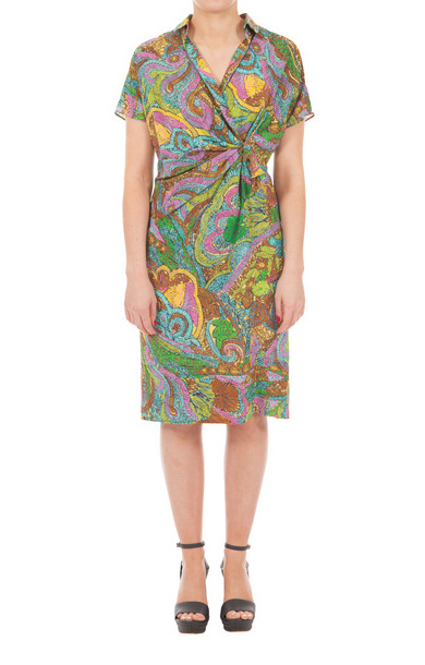 Tropical Print Silk Dress