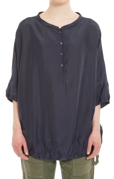 Button Navy Silk Blouse