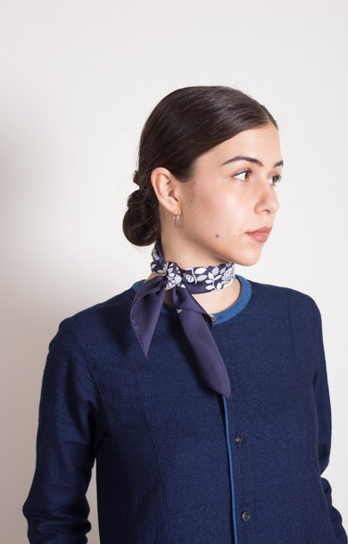 Blue Rose Printed Silk Bandana Navy