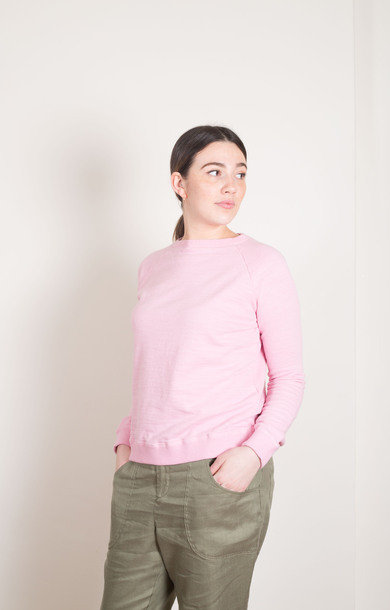 Bump Inlay Raglan Sweat Shirt Pink