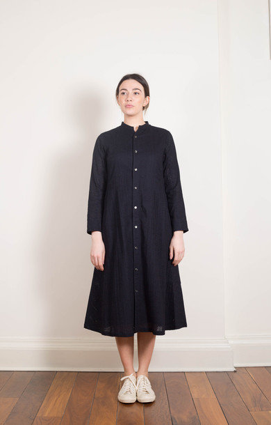 Cotton Lace Long Dress Navy
