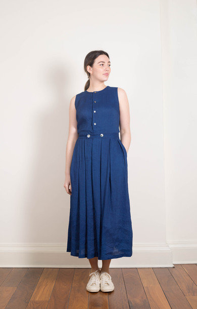 Crew Neck Dress Indigo