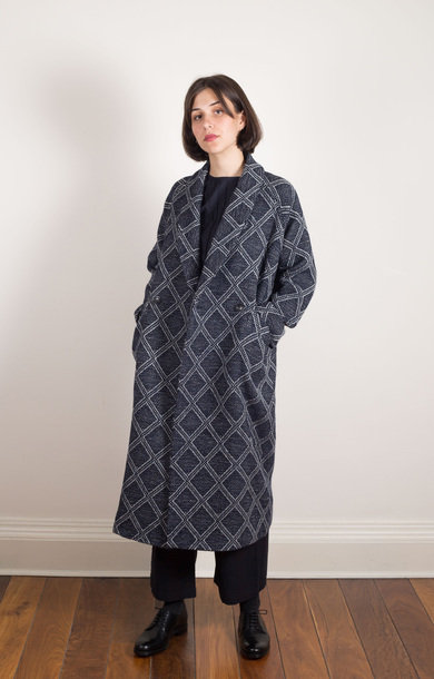 Diamond Pattern Sashiko Coat Natural
