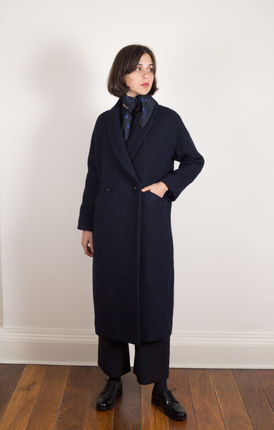 Diamond Pattern Sashiko Coat Navy