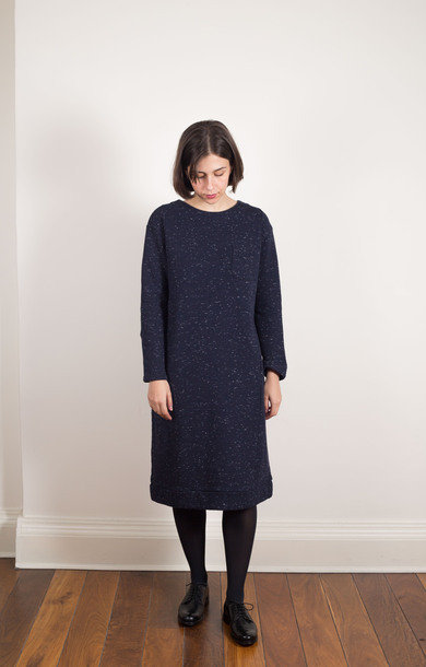 Snow Gradation Back Dress- Navy