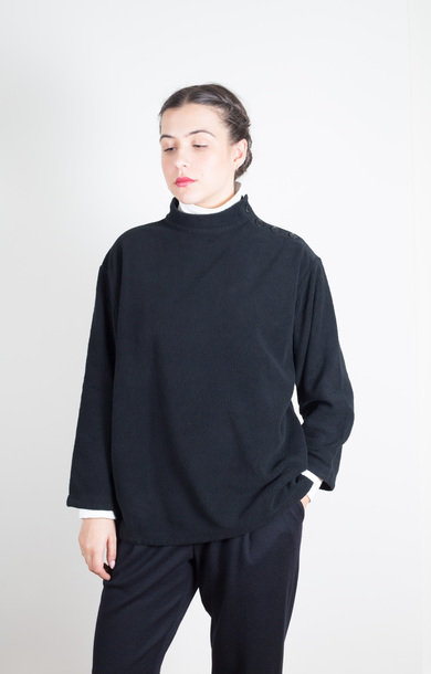 Fleece High-Neck Pullover Black