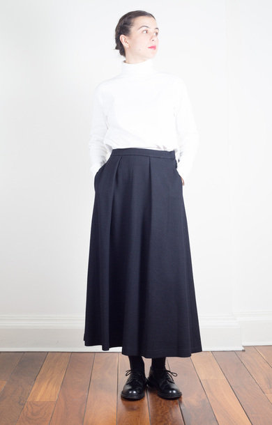 Houndstooth Split Long Skirt Dk. Navy