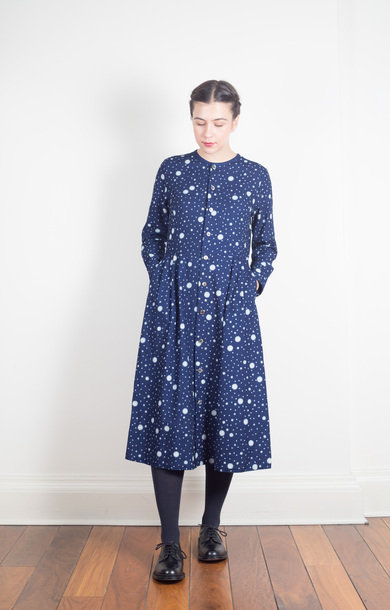 Indigo-Dyed Snowflake Dot Dress