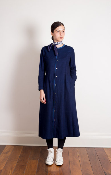 Indigo Flannel Combination Shirt Dress