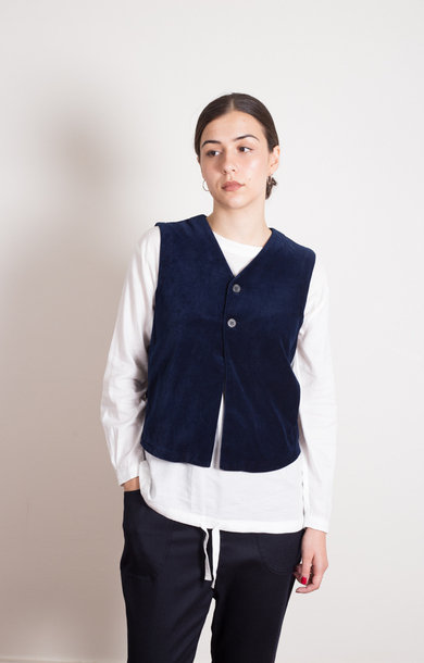Indigo Hand Dyed Velour Buttoned Vest