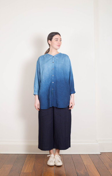 Indigo V-Neck Long Shirt