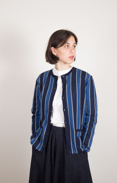 Jacquard Stripe Cardigan Blue