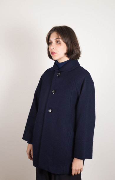 Knitted Melton Half Coat Navy
