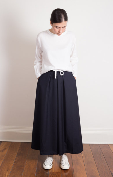 Saxony Wool Hakama Pants Navy