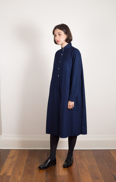Flannel Pullover Dress Indigo