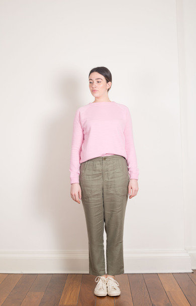 Twill Tapered String Pants Olive