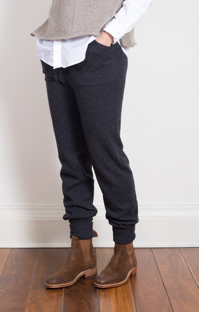 Cashmere Drawstring Pants Charcoal