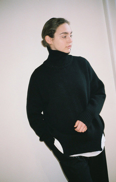 Double Split Roll Neck Black