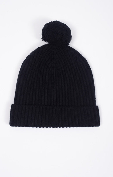 Fisherman Bobble Beanie Black