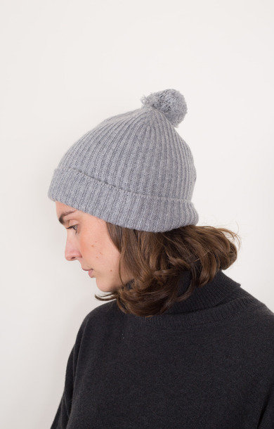 Fisherman Bobble Beanie Felt Grey