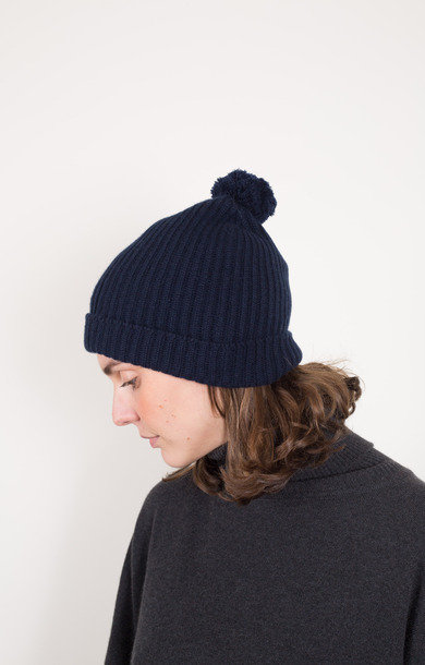 Fisherman Bobble Beanie Nero Navy