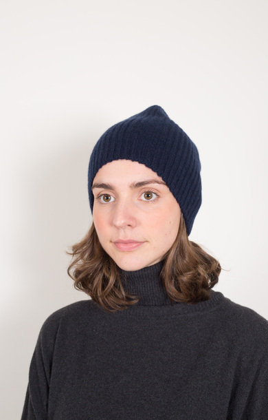 Fisherman Rib Beanie Nero Navy