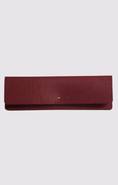 Leather Clutch Dark Ruby