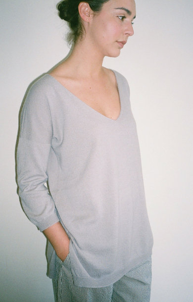 Oversized V-Neck Boxy Jumper Quill