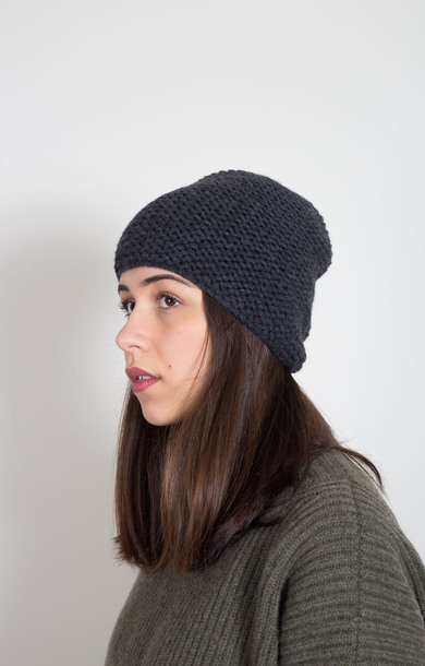 Plain Garter Stitch Hat Charcoal