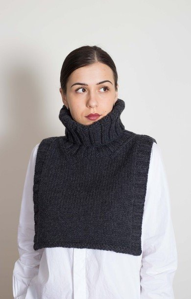 Roll Neck Bib Charcoal
