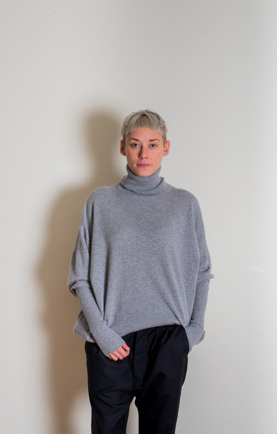 Roll Neck Dress Felt Grey