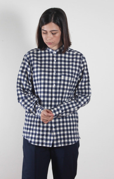 Babieca Shirt Seersucker Check Blue/White
