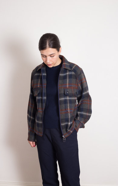 Balio R Shirt Jacket Wool Check Green