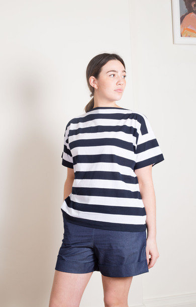 Blue Skin Boat T-Shirt White/Navy