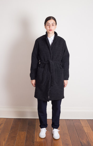 Roger Leo Coat Heavy Boucle Grey
