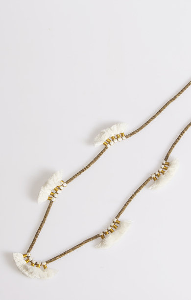 25 Pompom Long White Necklace