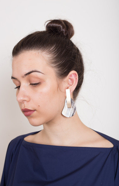 Earrings Horn Sm + Bronze Tag Grey