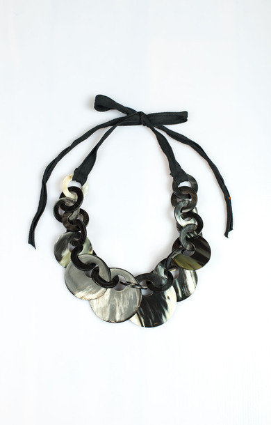Necklace Horn Circles and Rings Black